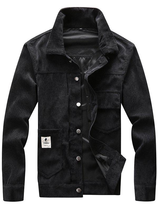 Trendy Men Classic Stand Collar Button Corduroy Jacket
