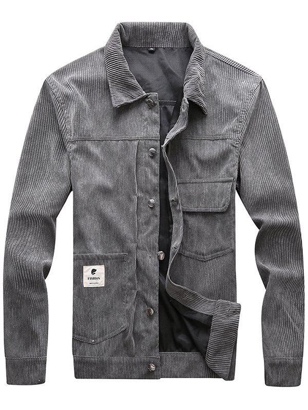 Latest Men Classic Stand Collar Button Corduroy Jacket