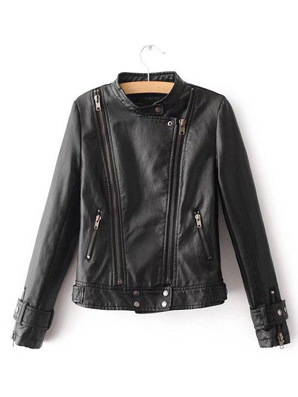 Fashion Women's Autumn Personality Side Zip Leather Jacket