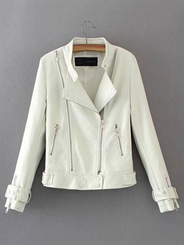 Trendy Women's Autumn Personality Side Zip Leather Jacket
