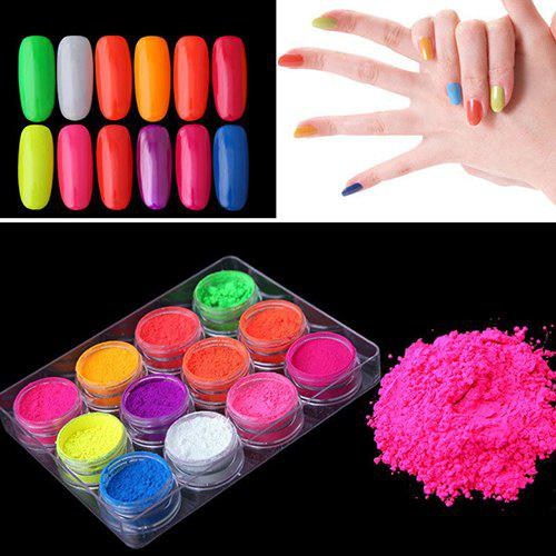 Store 12 Color Fluorescent Series Laser Phototherapy Nail Polish Powder