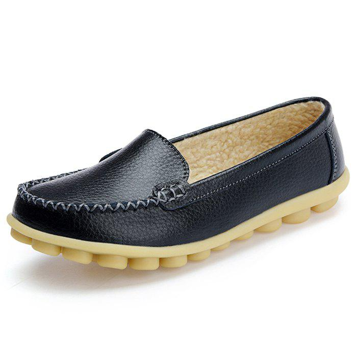 Store Women's Peas Shoes Leather Flat Bottom Large Size