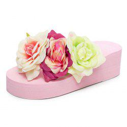 Female Platform Flip-flops Flower Slippers -