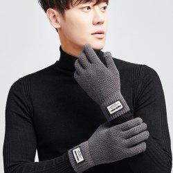 Men's Knitting Yarn Outdoor Driving Thick Warm Plus Velvet Students Touch Screen Gloves -