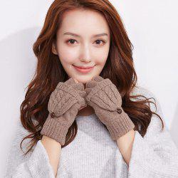 Autumn and Winter Outdoor Flip Half - finger Wool Knitted Ladies Gloves -