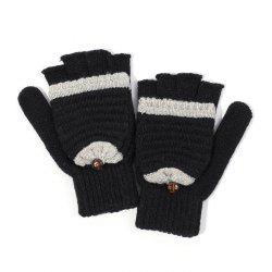 Women's Knit Wool Yarn Half Finger Winter Warm Cute Simple Writing Gloves -
