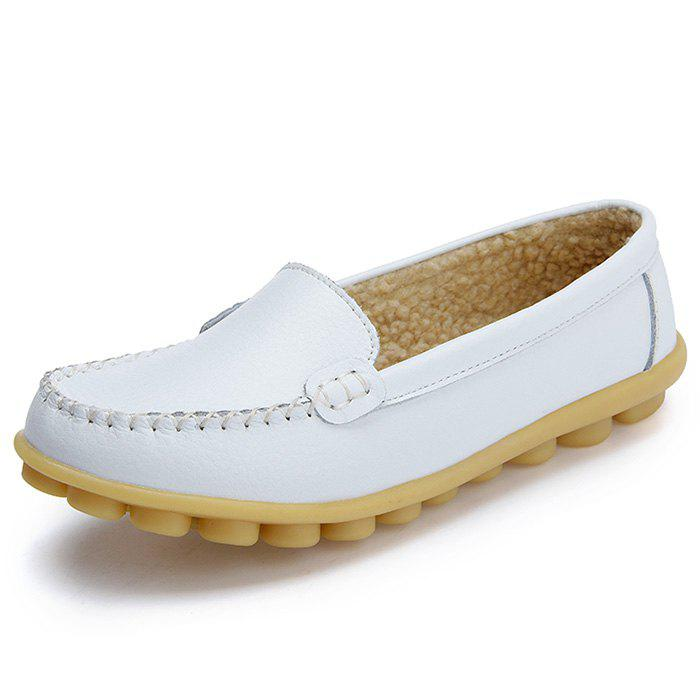 Best Women's Peas Shoes Leather Flat Bottom Large Size