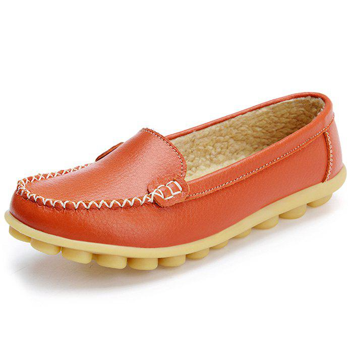 Buy Women's Peas Shoes Leather Flat Bottom Large Size