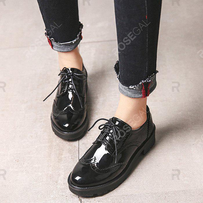 Cheap Patent Leather Thick - soled Casual Women Shoes