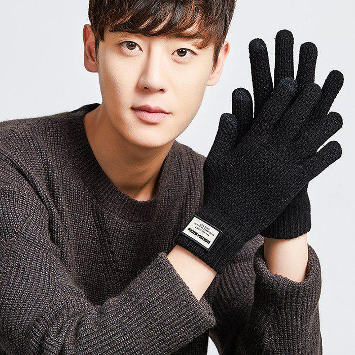 Fashion Men's Knitting Yarn Outdoor Driving Thick Warm Plus Velvet Students Touch Screen Gloves