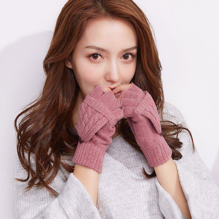 Store Autumn and Winter Outdoor Flip Half - finger Wool Knitted Ladies Gloves