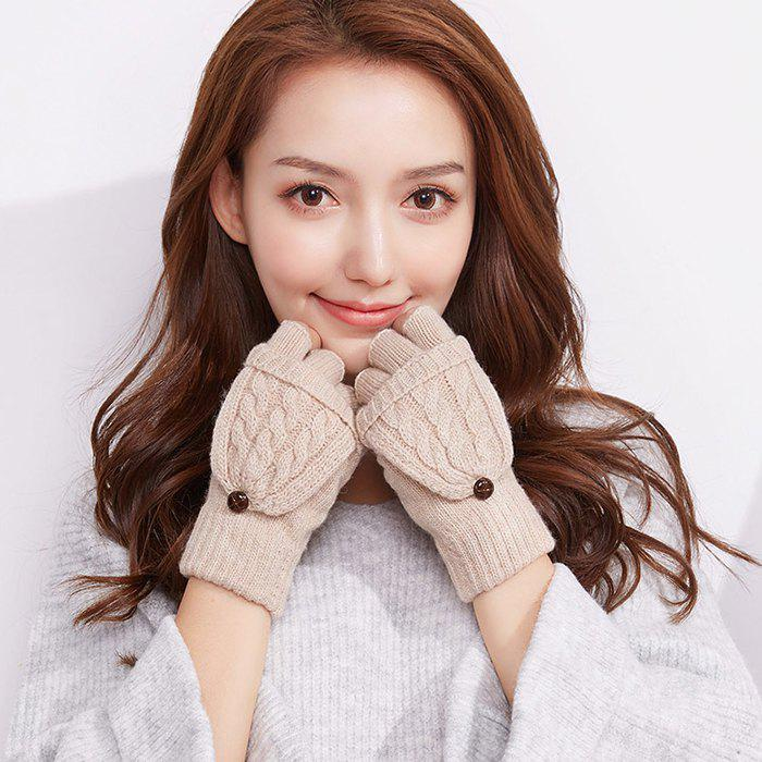Unique Autumn and Winter Outdoor Flip Half - finger Wool Knitted Ladies Gloves