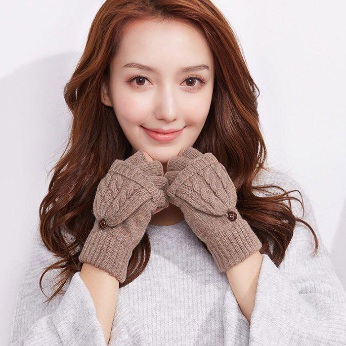 Discount Autumn and Winter Outdoor Flip Half - finger Wool Knitted Ladies Gloves