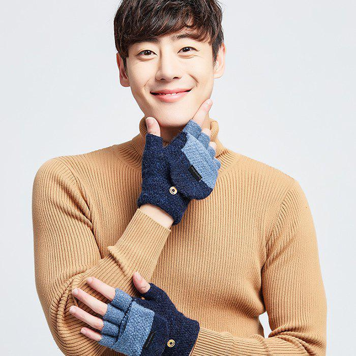 Online Men's Winter Knit Wool Semi-finger Clamshell Thick Warm Cycling Gloves
