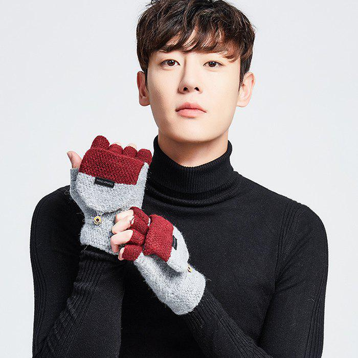 Hot Men's Winter Knit Wool Semi-finger Clamshell Thick Warm Cycling Gloves