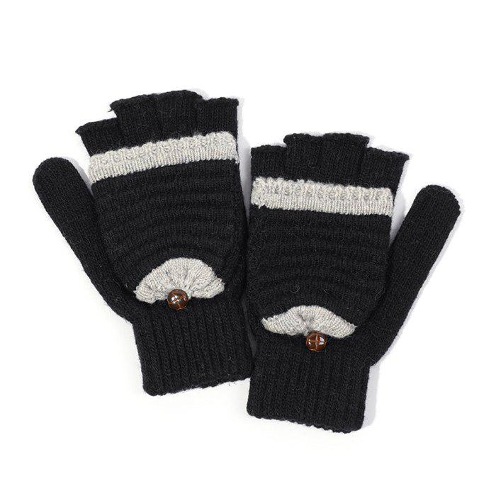 Buy Women's Knit Wool Yarn Half Finger Winter Warm Cute Simple Writing Gloves