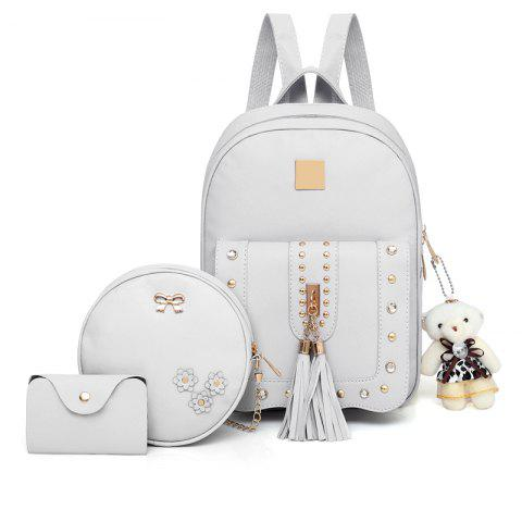 Fashion Tassel Rivet Accessories Pure Elegant Ladies Three-piece Shoulders  Bag Backpack eaa5f714adc69