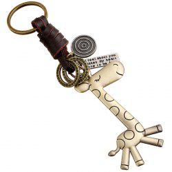 Creative Keychain Small Gifts Alloy Cute Giraffe Vintage Woven Leather -
