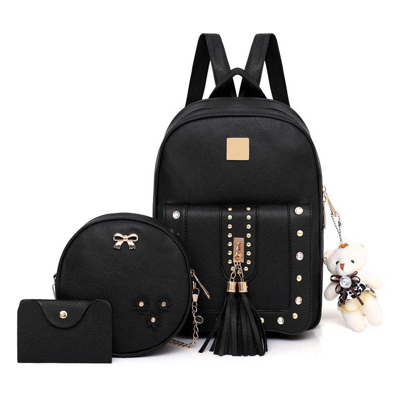 531c62d45 Latest Fashion Tassel Rivet Accessories Pure Elegant Ladies Three-piece  Shoulders Bag Backpack