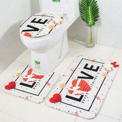 Printed Toilet Carpet Floor Mat Non-slip Absorbent Three-piece -