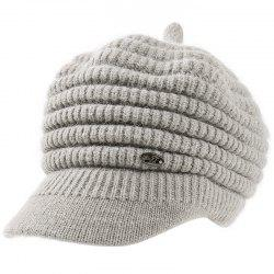 Female Solid Color Knitted Wool Peaked Cap -