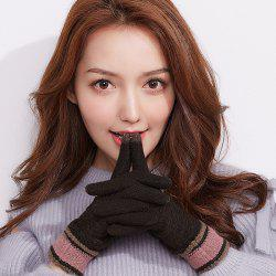 Ladies Outdoor Touch Screen Knitting Yarn Plus Velvet Finger Gloves -