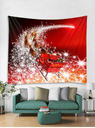 Father Christmas Deer Print Tapestry Art Decoration -