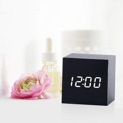 Mirror Wood Multi-function Voice Control Mute Temperature Calendar Display LED Electronic Clock -
