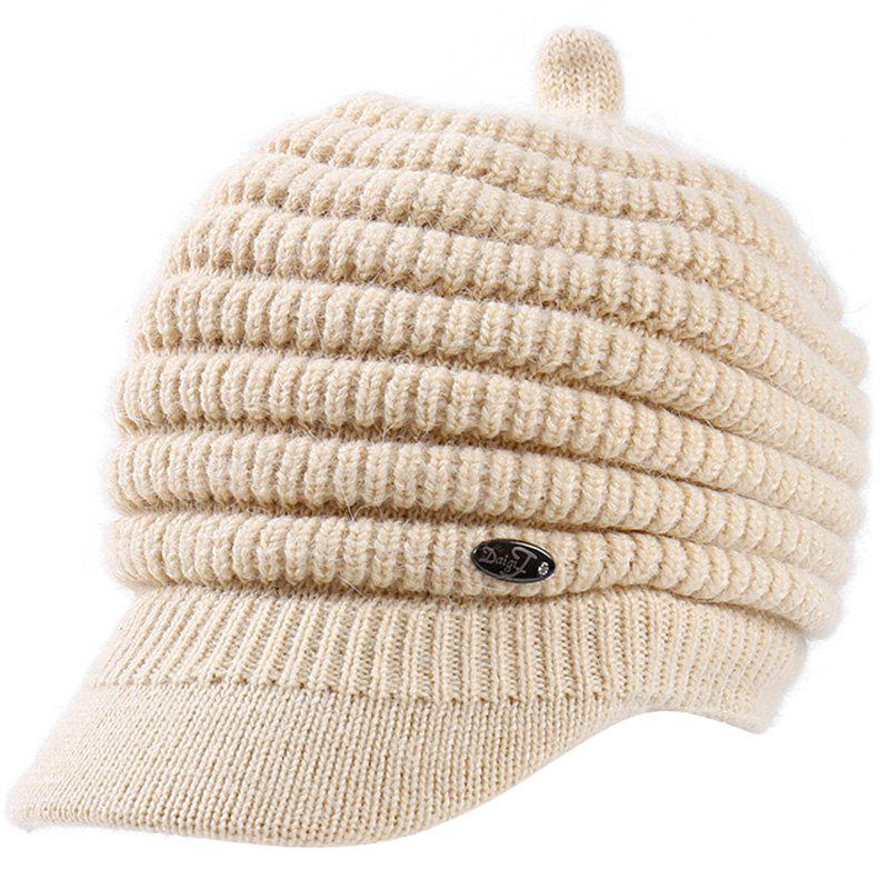 Unique Female Solid Color Knitted Wool Peaked Cap