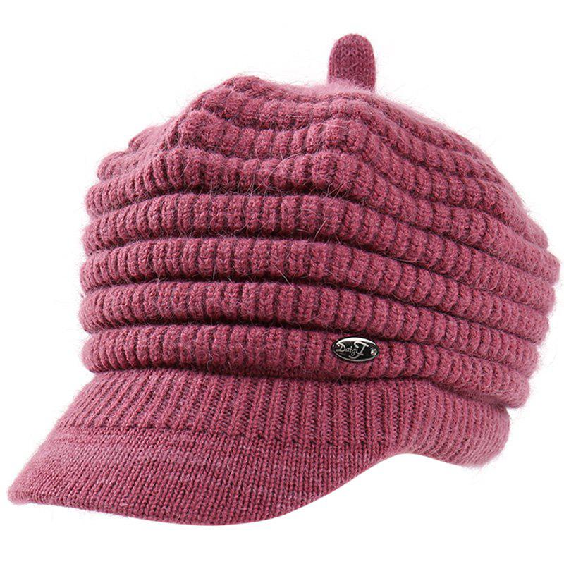 Store Female Solid Color Knitted Wool Peaked Cap