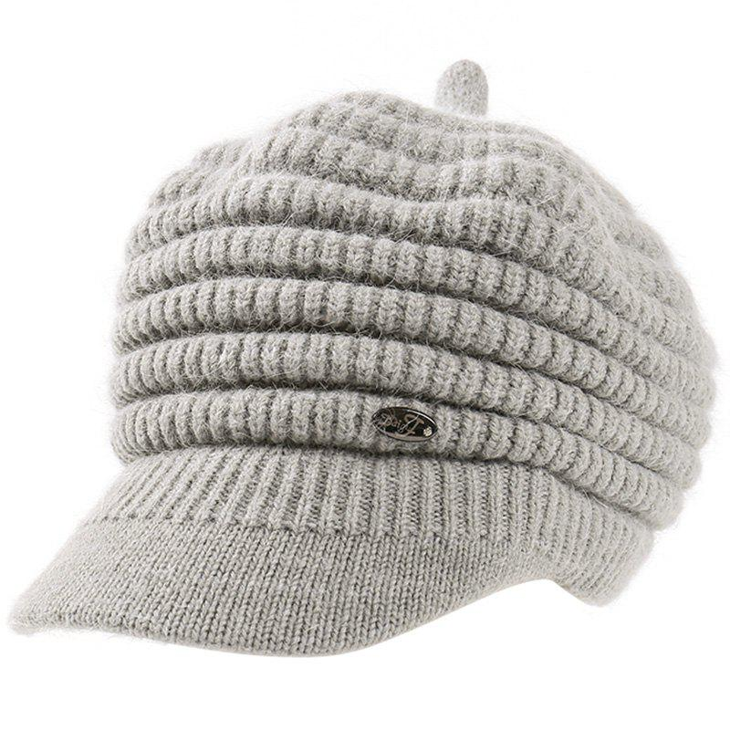 Online Female Solid Color Knitted Wool Peaked Cap