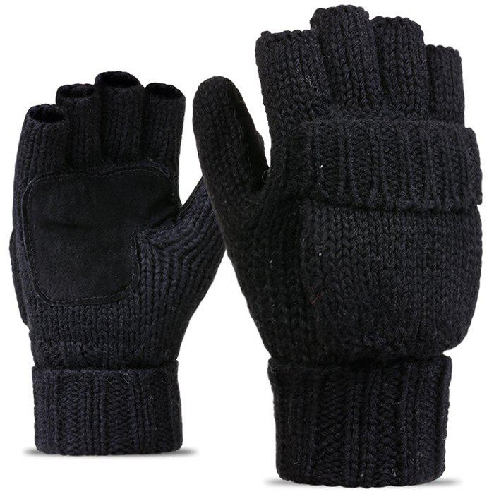 Affordable Men's Thicken Warm Half Finger Wool Knitting Gloves