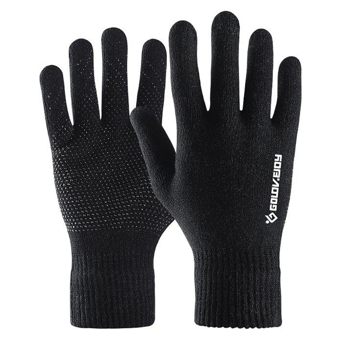 Chic Knitted Gloves Full Palm Touch Screen Men Autumn Winter Plus Velvet All-inclusive Warm Female Anti-skid Bike