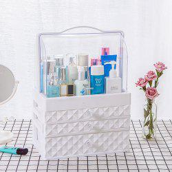 Portable Transparent Double Door Dustproof Drawer Type Cosmetic Storage Box Large White Three Pumping -