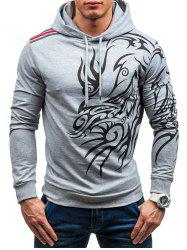 3066 Solid Color Dragon Turtleneck Casual Long Sleeve Hoodie for Men -
