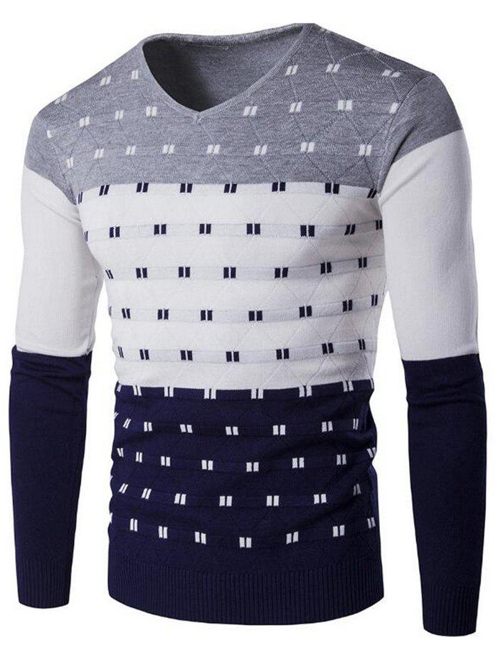 Best SYWT0196 Stylish Men's Color Matching Warm Sweater