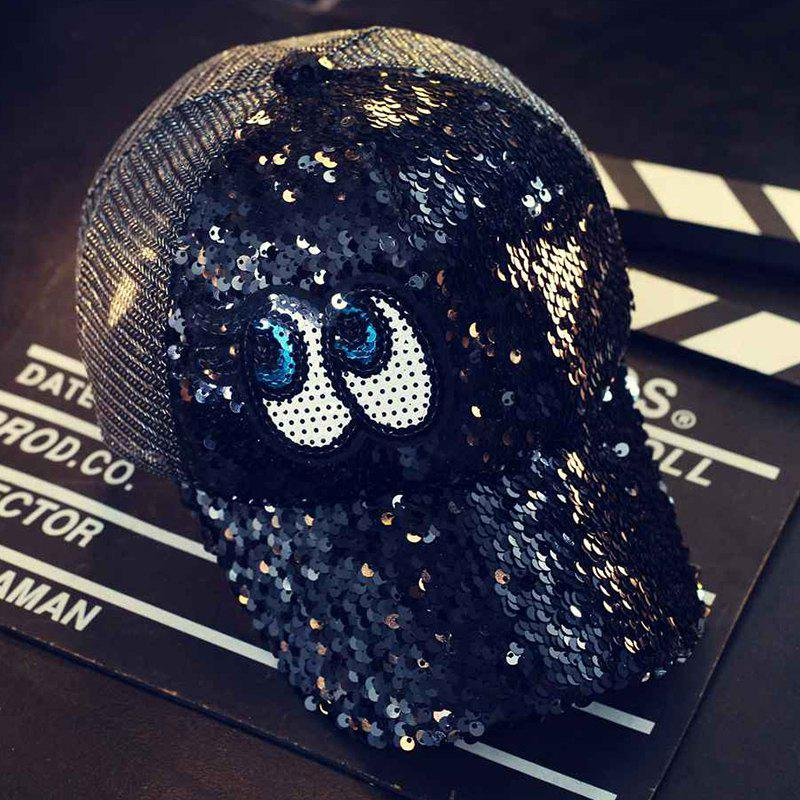 Fashion Reflective Sequins Eye Visor Peaked Cap