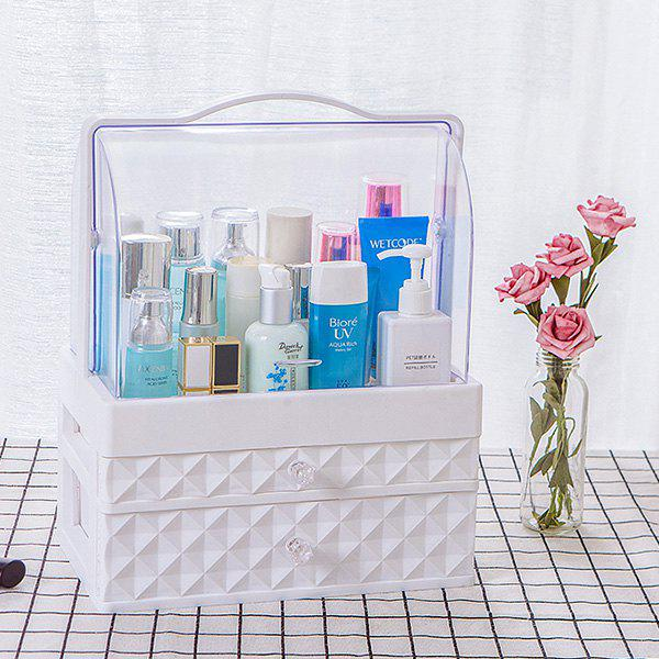 Outfit Portable Transparent Dustproof Drawer Type Cosmetic Storage Box Large White Double Pumping