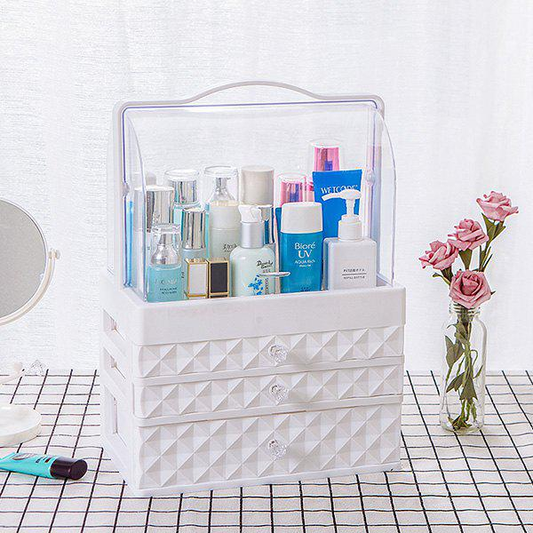 Discount Portable Transparent Double Door Dustproof Drawer Type Cosmetic Storage Box Large White Three Pumping