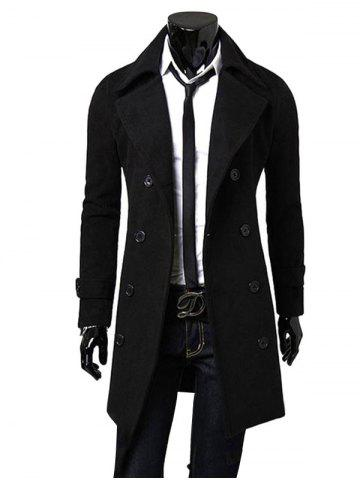 Men Fashionable Turn-down Collar Long Wind Coat