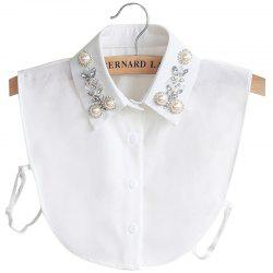 8 - P3185 - A08.4.04 Rhinestone Beaded Pearl Chiffon Shirt Detachable Collar -