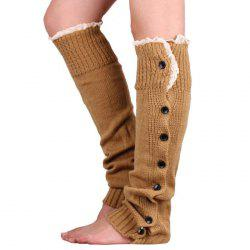 Garter Button Lace Knit Thick Warm Decoration Socks -