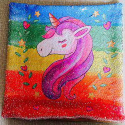 Unicorn Two-color Sequins DIY Printed Pillowcase -