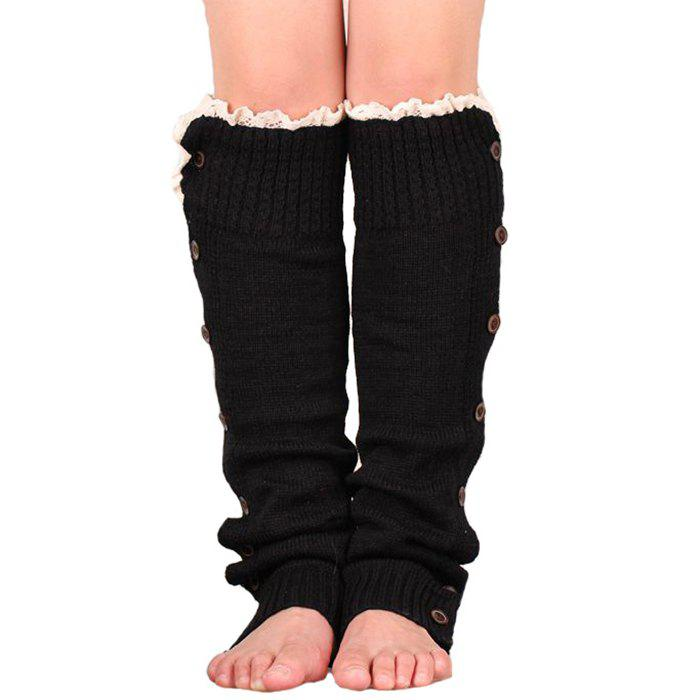 Chic Garter Button Lace Knit Thick Warm Decoration Socks