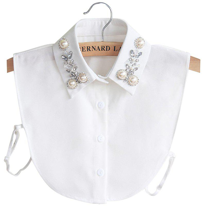 Shops 8 - P3185 - A08.4.04 Rhinestone Beaded Pearl Chiffon Shirt Detachable Collar