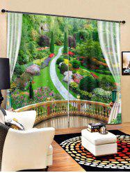 2PCS Balcony Landscape Printed Window Curtains -