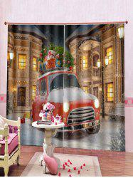 2PCS Christmas Gift Car Print Window Curtains -