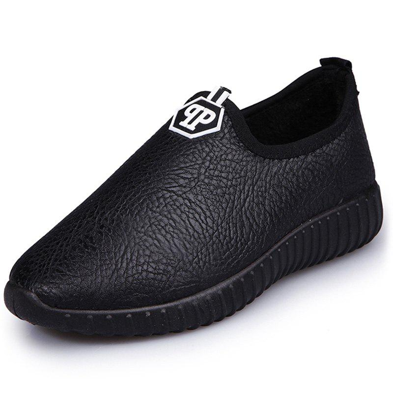 Chic 1605 Leather Women's Lok Fu Cotton Shoes