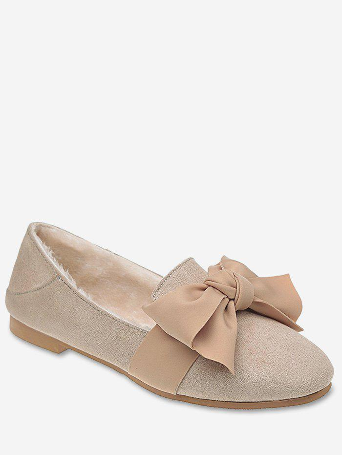 Online Contrast Bowknot Loafer Flats