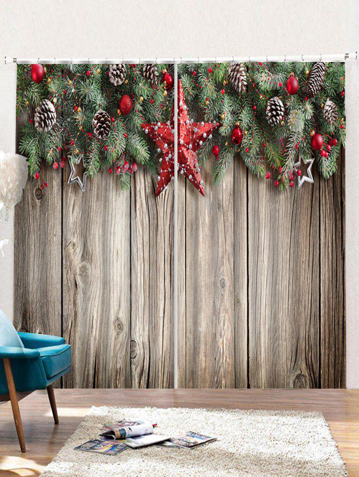 Outfit 2PCS Christmas Wooden Star Print Window Curtains
